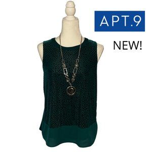 NWT! Apt. 9 Dark Green Sleeveless Blouse Sz S